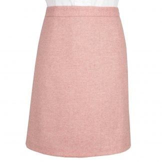 Cordings Pale Pink Herringbone Tweed Short Skirt Main Image