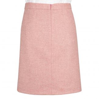 Cordings Pale Pink Herringbone Tweed Short Skirt Different Angle 1