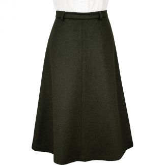Cordings Olive Green A Line  Loden Skirt Main Image