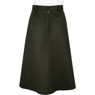 Cordings Olive Green A Line  Loden Skirt Different Angle 1