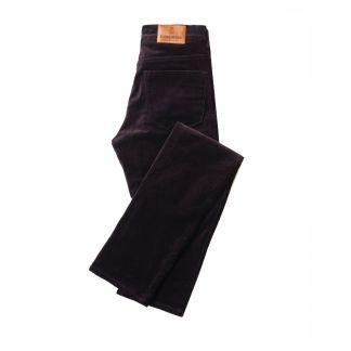 Cordings Aubergine Stretch Velvet Trousers Main Image