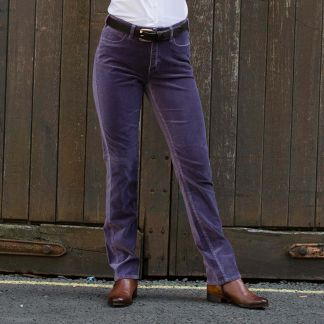 Cordings Violet stretch velvet jeans Different Angle 1