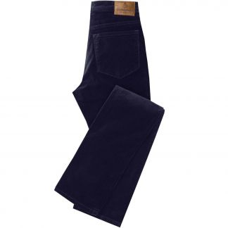 Cordings Navy stretch velvet jeans Different Angle 1