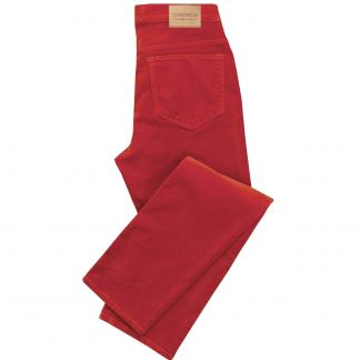 Cordings Military Red stretch velvet jeans Main Image