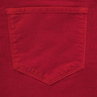 Cordings Military Red stretch velvet jeans Different Angle 1
