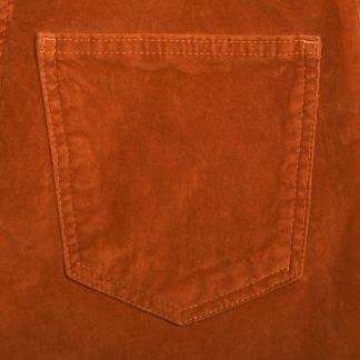Cordings Orange stretch velvet jeans Different Angle 1