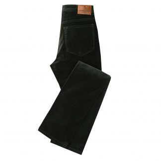 Cordings Green Olive stretch velvet jeans Main Image