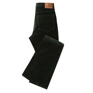 Cordings Bottle Green stretch velvet jeans Main Image
