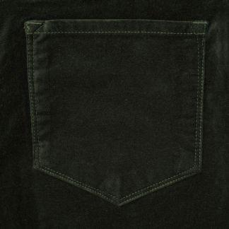 Cordings Bottle Green stretch velvet jeans Different Angle 1