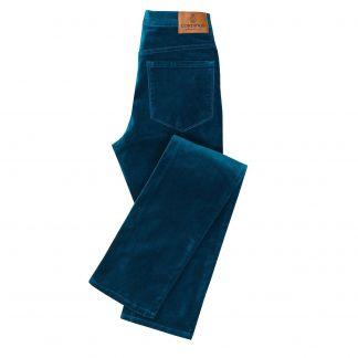 Cordings Blue Petrol stretch velvet jeans Main Image