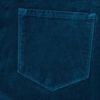 Cordings Blue Petrol stretch velvet jeans Different Angle 1
