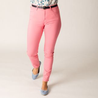 Cordings Pink Stretch Cotton Slim Leg Trousers  Different Angle 1