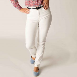 Cordings White Stretch Cotton Slim Leg Trousers Different Angle 1