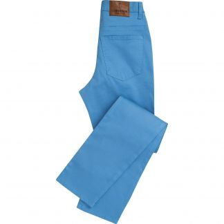Cordings Blue Stretch Cotton Slim Leg Trousers Main Image