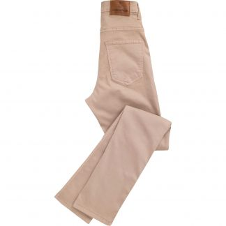 Cordings Fawn Stretch Cotton Slim Leg Trousers  Main Image