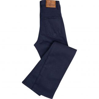 Cordings Navy Stretch Cotton Slim Leg Trousers Main Image