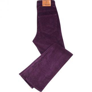 Cordings Purple Classic Stretch Needlecord Jeans Main Image