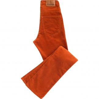 Cordings Orange Soft Stretch Needlecord Jeans Main Image