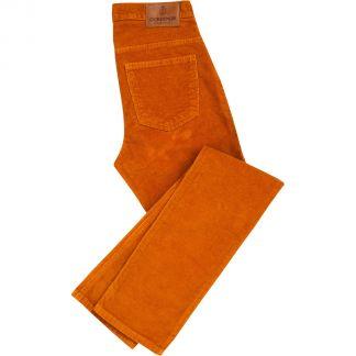 Cordings Orange Stretch Corduroy Trousers Main Image