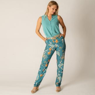 Cordings Floral Stretch Trousers Different Angle 1