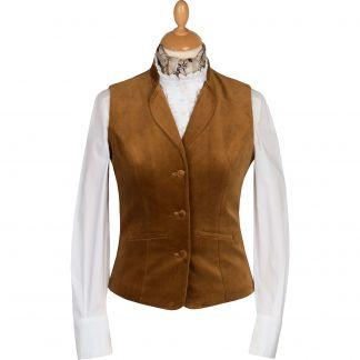 Cordings Coffee Fitted Velvet Waistcoat Main Image