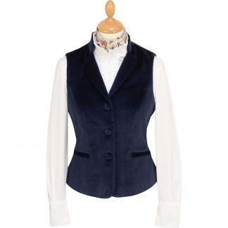 Cordings Navy Blue Fitted Velvet Waistcoat Main Image