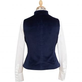 Cordings Navy Blue Fitted Velvet Waistcoat Different Angle 1