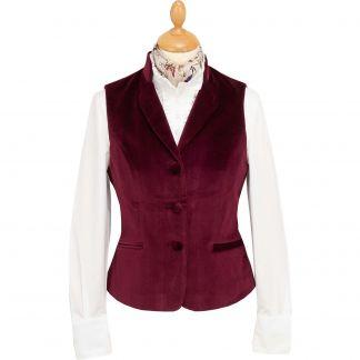 Cordings Wine Fitted Velvet Waistcoat Main Image