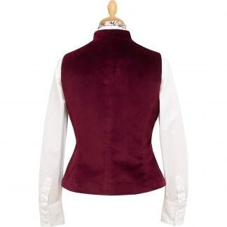 Cordings Wine Fitted Velvet Waistcoat Different Angle 1