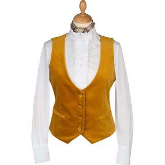 Cordings Gold Velvet Waistcoat Main Image