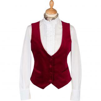 Cordings Raspberry Velvet Waistcoat Main Image