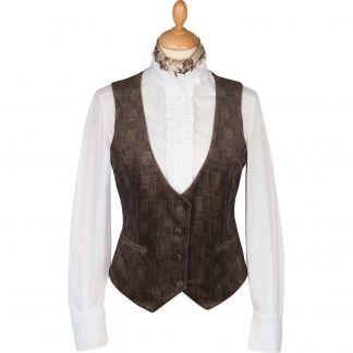 Cordings Camel Velvet Check Tailored Waistcoat Main Image