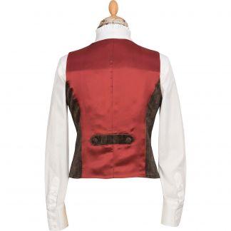Cordings Camel Velvet Check Tailored Waistcoat Different Angle 1