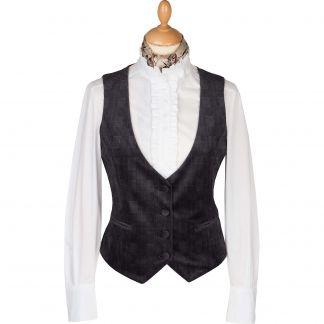 Cordings Chocolate Velvet Check Tailored Waistcoat Main Image