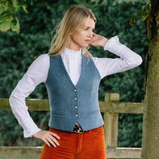 Cordings Blue Harris Tweed Wantage Tailored Waistcoat Different Angle 1