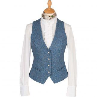 Cordings Blue Harris Tweed Wantage Tailored Waistcoat Main Image