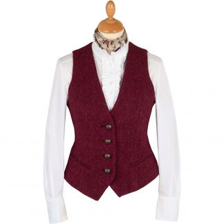 Cordings Wine Roxby Harris Tweed Tailored Waistcoat  Main Image