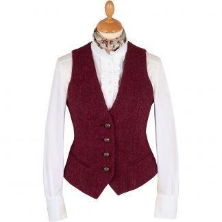 Cordings Wine Roxby Harris Tweed Tailored Waistcoat  Main Image