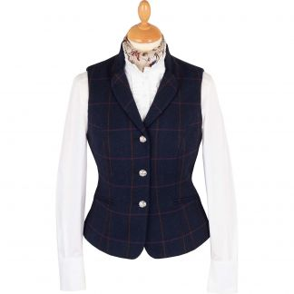 Cordings Navy Cowley Tweed Fitted Waistcoat Main Image
