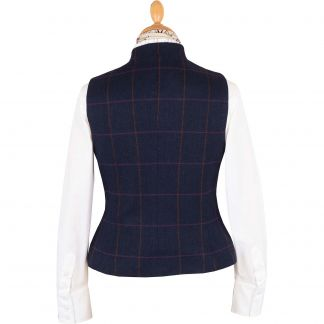 Cordings Navy Cowley Tweed Fitted Waistcoat Different Angle 1