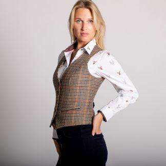 Cordings Wincanton Tweed Uncollared Waistcoat Different Angle 1