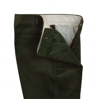 Cordings Olive Needlecord Trousers Different Angle 1