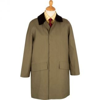 Cordings Khaki Huntsman Mackintosh with Corduroy Collar Main Image