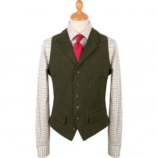 Cordings Olive Collared Moleskin Waistcoat Different Angle 1