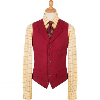 Cordings Wine Collared Moleskin Waistcoat Different Angle 1