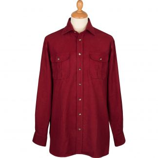 Cordings Wine Linton Moleskin Shirt  Different Angle 1