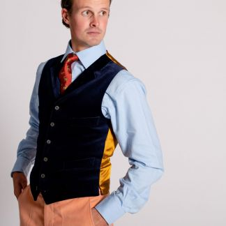 Cordings Navy Collared Velvet Waistcoat Different Angle 1