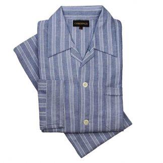 Cordings Blue Striped Flannel Pyjamas Main Image