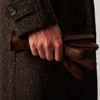 Cordings Brown Grey Herringbone Donegal Follifoot Coat Different Angle 1