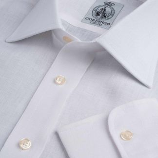 Cordings White Classic Linen Shirt Main Image